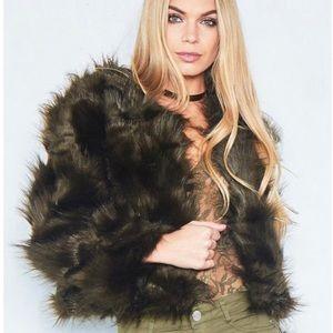 bcfb259c514 Missguided Jackets & Coats - NWT MissyEmpire Aniyah Khaki Cropped Faux Fur  Coat